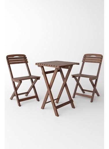 Meya Dekor Balkon Bahçe 3'lü Katlanabilir Bistro Set 2 Sandalye 1 Bahçe 60x60 Cm Masa Renkli
